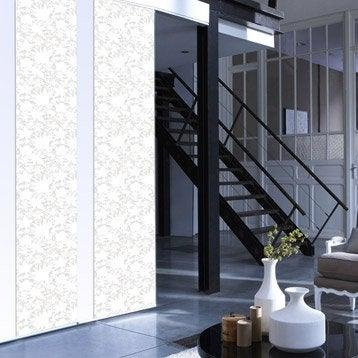 Panneau japonais Dévoré fleurs, blanc, 250 x 50 cm