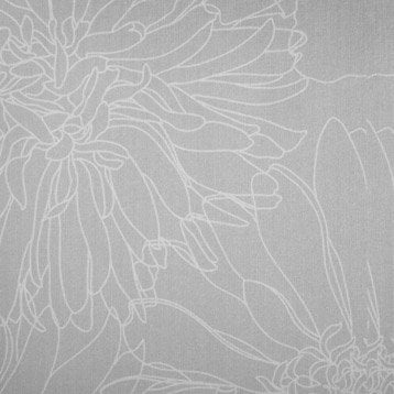Panneau japonais, Fleurs crayonnées gris, H.250 x l.50 cm