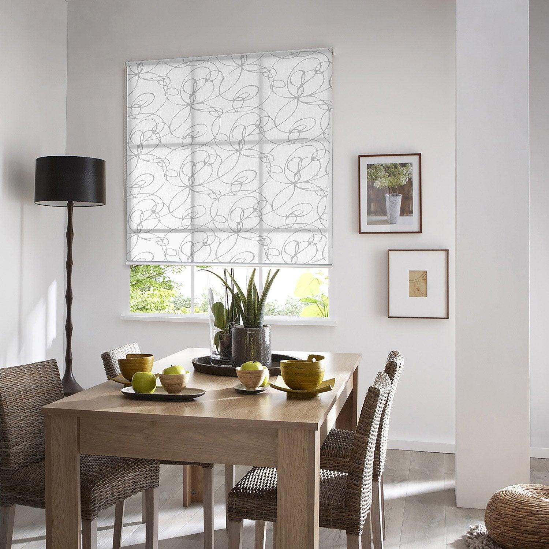 Store enrouleur tamisant Zigzag, blanc et gris, 155x190 cm | Leroy ...