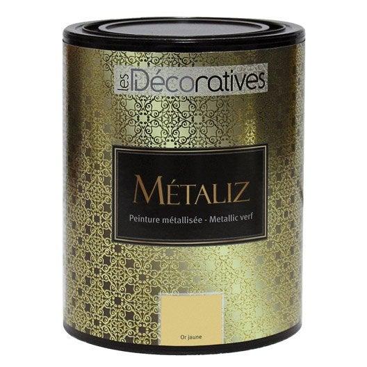 Peinture effet m taliz les decoratives or jaune 1 l for Peinture les decoratives