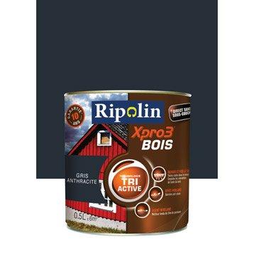 Peinture bois extérieur Xpro 3 RIPOLIN, gris anthracite, 0.5 l