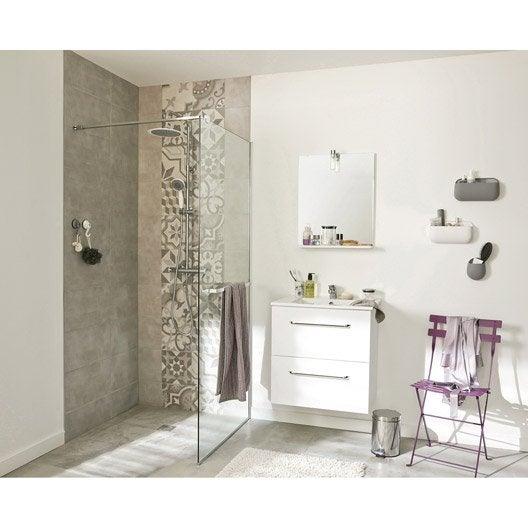 Carrelage mural seattle en fa ence gris clair l 50 x l 25 cm for Ma salle de bain en 3d leroy merlin