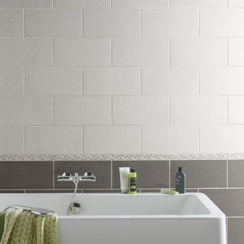 Faïence Mur Gris Trend L X L Cm Leroy Merlin - Comment poser carrelage mural salle de bain