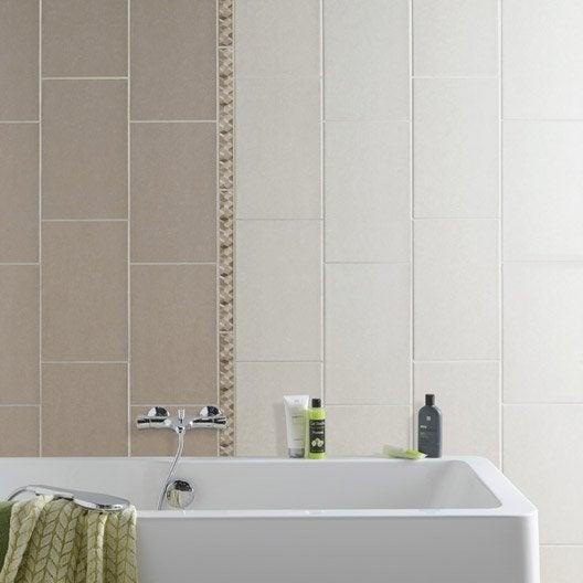 Fa ence mur beige trend x cm leroy merlin - Faience beige salle de bain ...