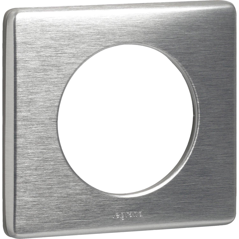 plaque c liane legrand aluminium brillant leroy merlin. Black Bedroom Furniture Sets. Home Design Ideas