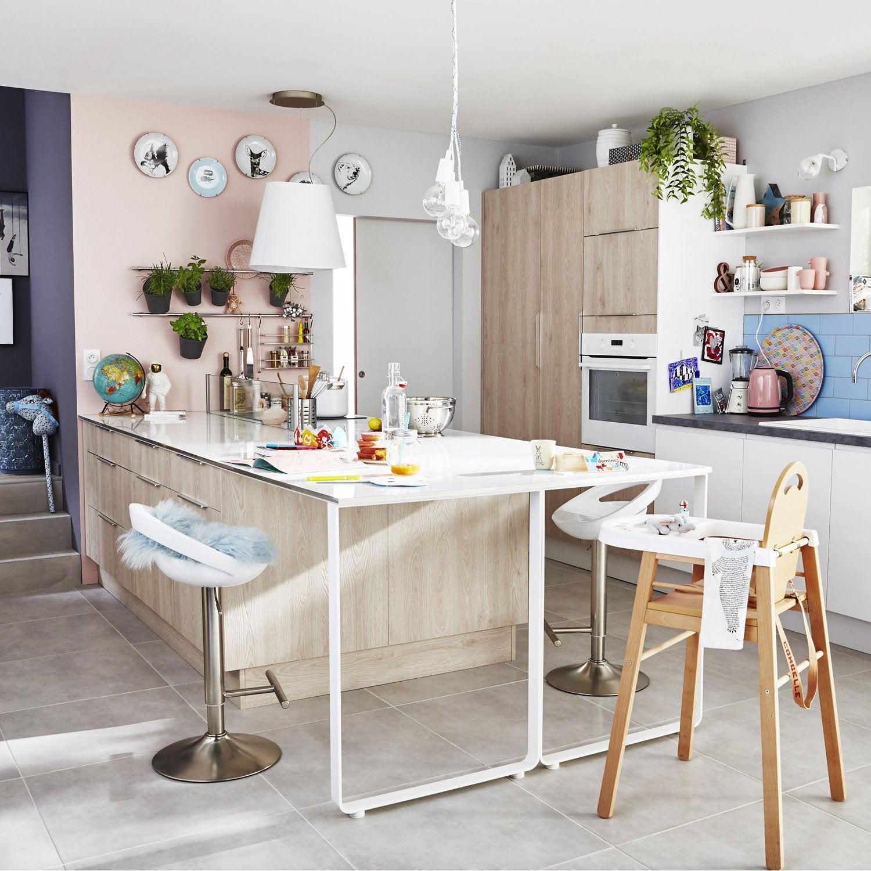 meuble de cuisine d cor bois delinia nordik leroy merlin. Black Bedroom Furniture Sets. Home Design Ideas
