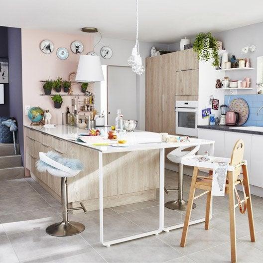 Meuble de cuisine d cor bois delinia nordik leroy merlin - Meuble de cuisine bois ...
