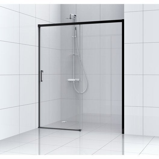 porte de douche coulissante 140 cm, transparent, remix | leroy merlin