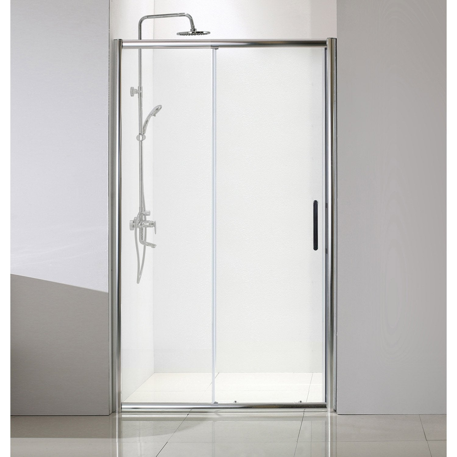 porte de douche coulissante 140 cm transparent quad leroy merlin. Black Bedroom Furniture Sets. Home Design Ideas