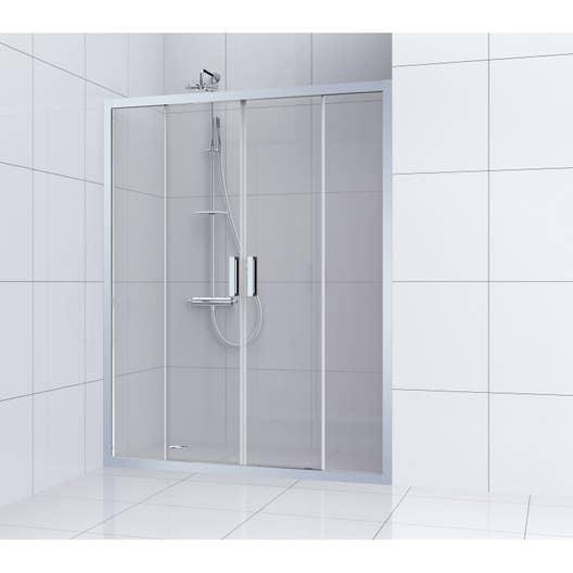 Porte de douche coulissante 160 cm transparent charm leroy merlin - Cabine de douche gedimat ...