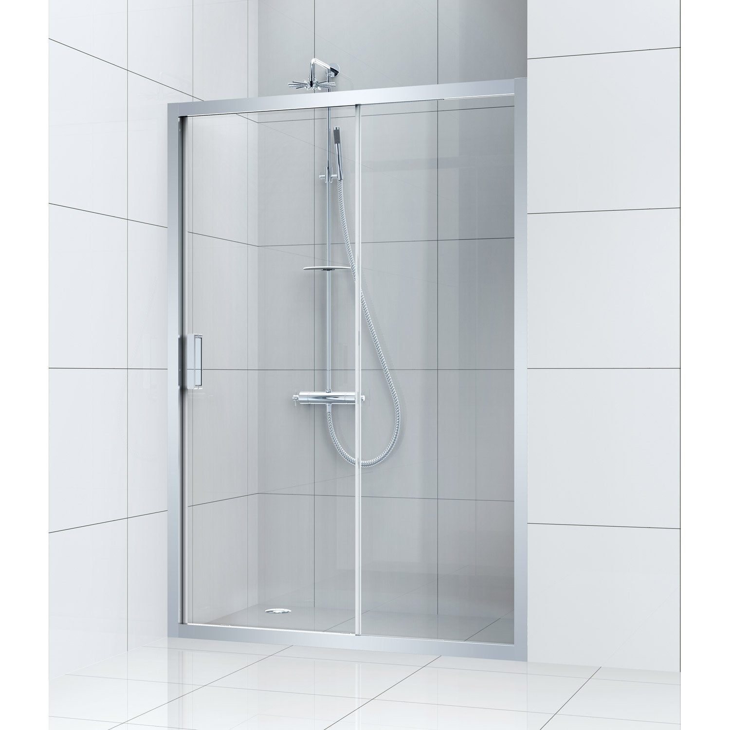 porte de douche coulissante 140 cm transparent charm leroy merlin. Black Bedroom Furniture Sets. Home Design Ideas