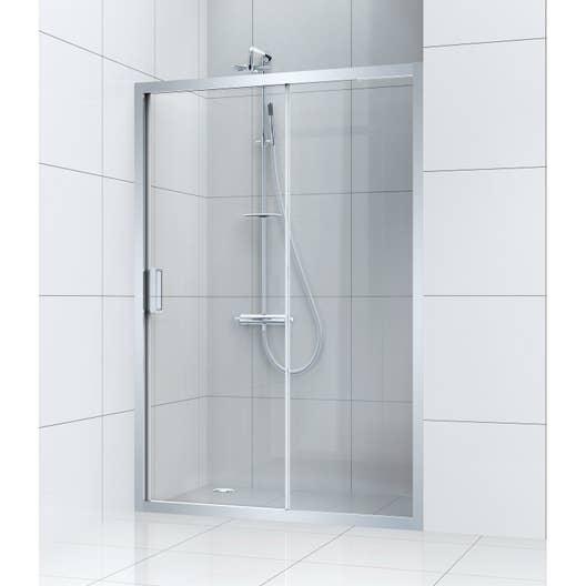 Porte de douche coulissante 140 cm transparent charm - Leroy merlin porte de douche coulissante ...