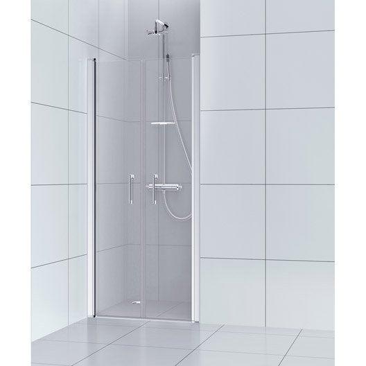 Porte de douche battante 80 cm transparent remix leroy merlin - Porte battante leroy merlin ...