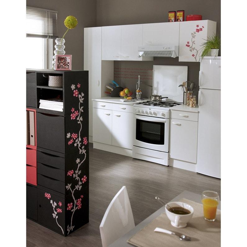 meuble de cuisine haut 2 portes blanc h579x l80x p352cm - Cuisine Meuble Blanc