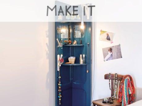 diy fabriquer une tag re d angle partir d une porte leroy merlin. Black Bedroom Furniture Sets. Home Design Ideas