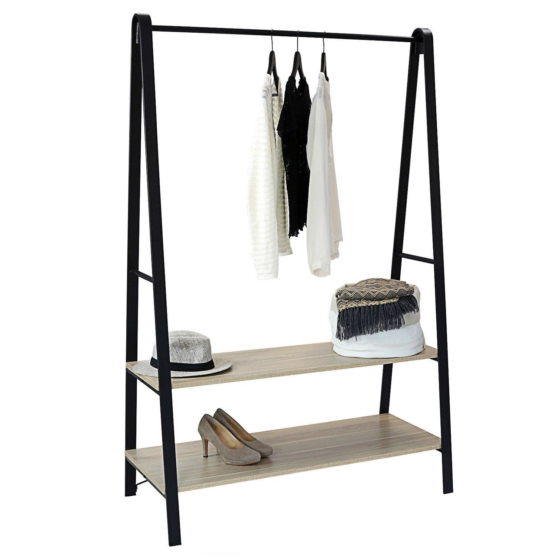 Portant 2 étagères et 1 barre de penderie Arch noir H.170 x l.110 x P.50 cm