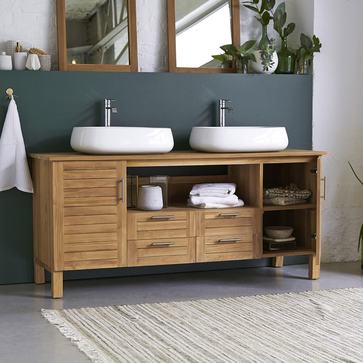 Meuble de salle de bains x x cm teck - Meuble salle de bain teck castorama ...