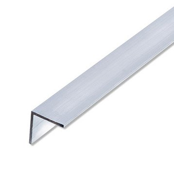 Cornière égale aluminium brut, L.2.5 m x l.2.35 cm x H.2.35 cm