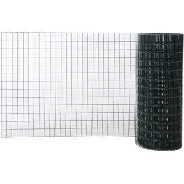 Grillage soudé vert H.1 x L.20 m, maille de H.75 x l.50 mm