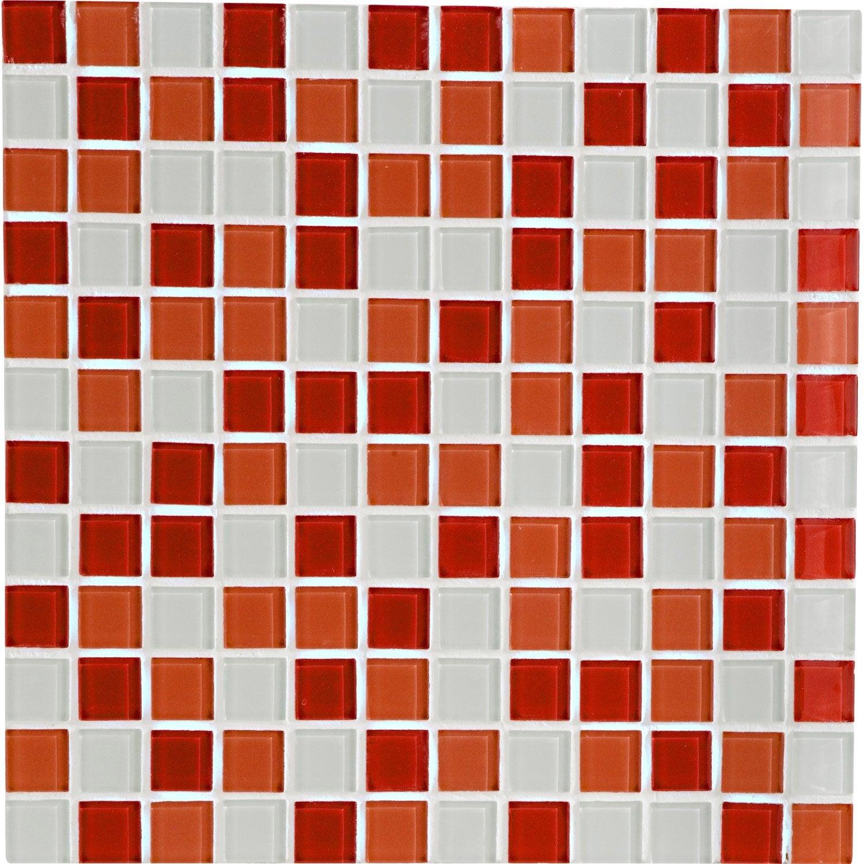 mosaïque mur shaker mix rouge 2.3 x 2.3 cm   leroy merlin