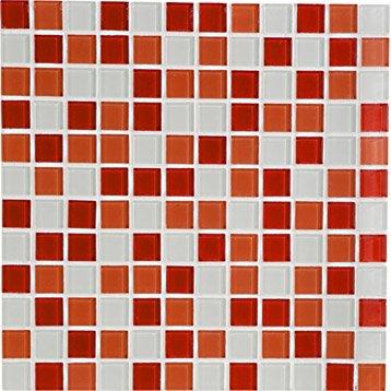 Mosa que et galets pour carrelage de salle de bains for Carrelage salle de bain rouge et gris
