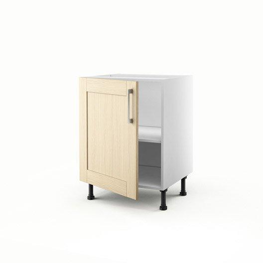 Meuble de cuisine bas ch ne clair 1 porte cyclone x l for Porte 70 cm largeur