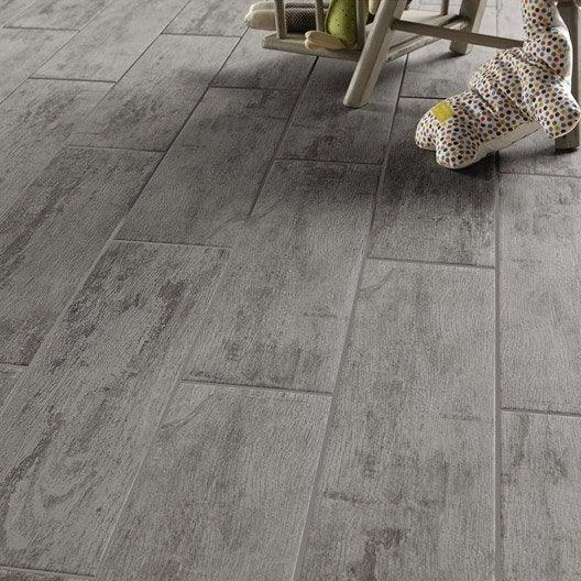 Carrelage sol et mur gris effet bois kaori x cm for Carrelage interieur gris