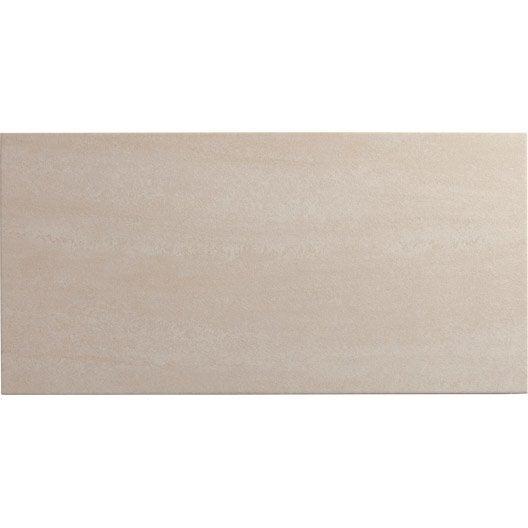 Carrelage sol et mur ivoire effet pierre trevise x l for Carrelage rectangulaire