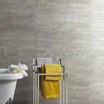 Carrelage sol et mur gris, Taiga l.15 x L.90 cm