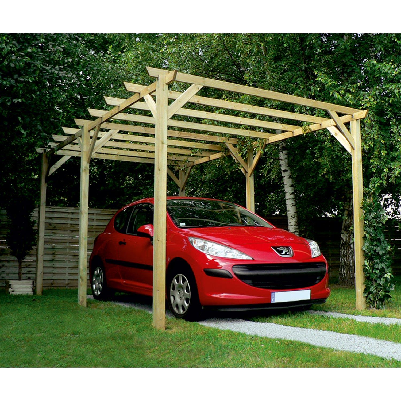 Carport Pour Voiture carport bois maranello 1 voiture, 15 m² | leroy merlin