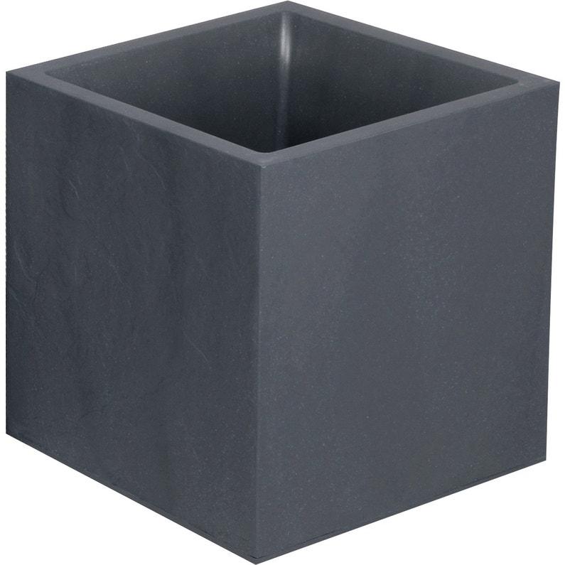 Bac Plastique Eda L39 X L39 X H43 Cm Anthracite