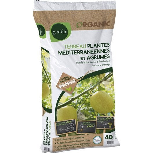 Terreau plantes méditerranéennes GEOLIA, 40 l