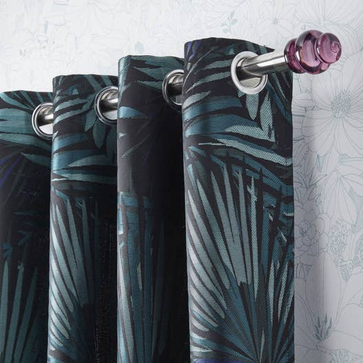 Rideau tamisant jungle bleu vert x cm - Double rideaux occultant leroy merlin ...