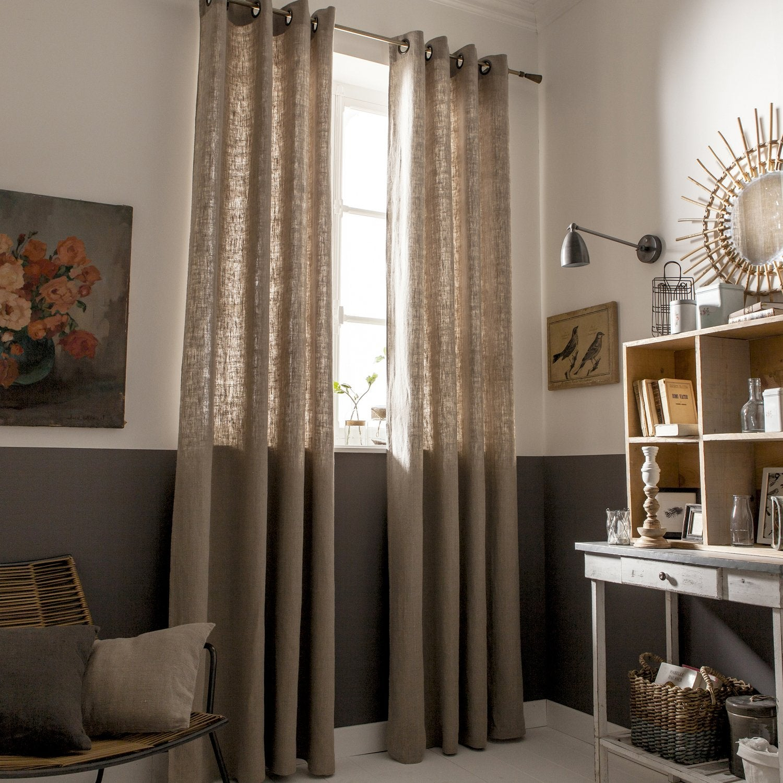 un rideau en lin de couleur perle leroy merlin. Black Bedroom Furniture Sets. Home Design Ideas