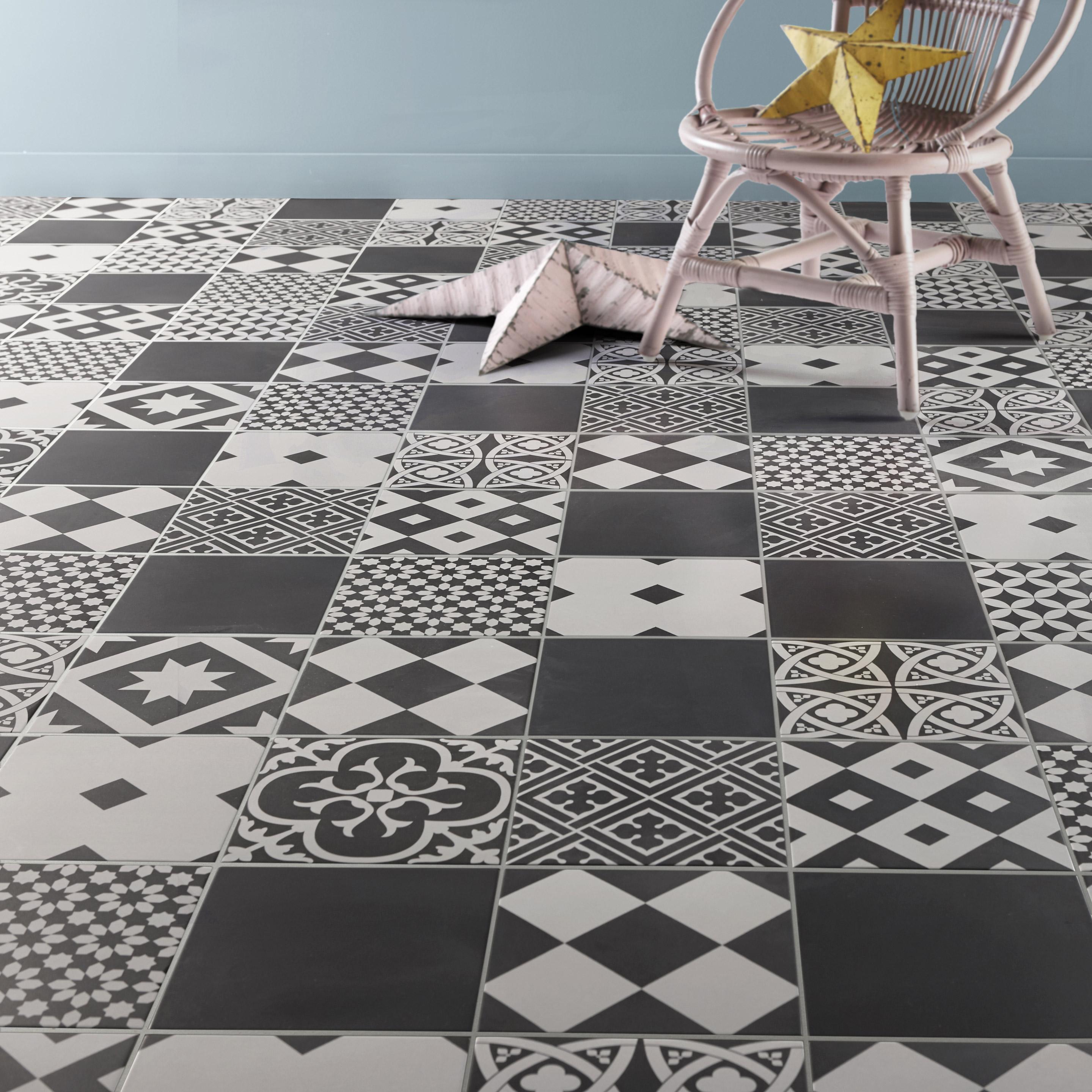 Carrelage sol et mur forte carreau de ciment noir et blanc Gatsby l ...