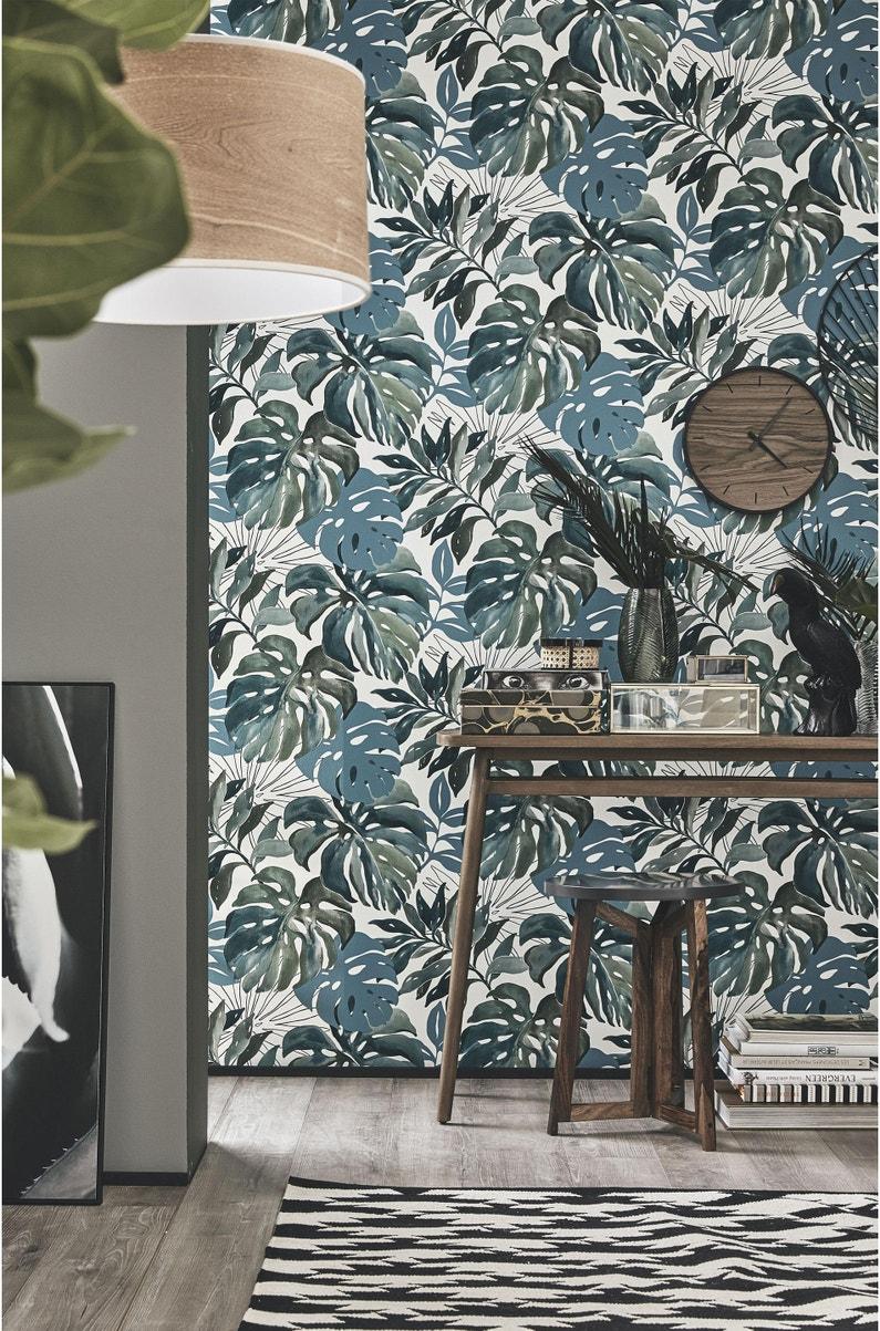 Leroy Merlin Papier Peint Salle De Bain papier peint vinyle marqué à chaud jungle aquarelle vert