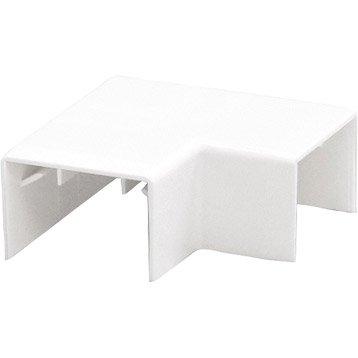 Lot de 2 angles plats blanc pour moulure, H. 3.5 x P.1.8 cm