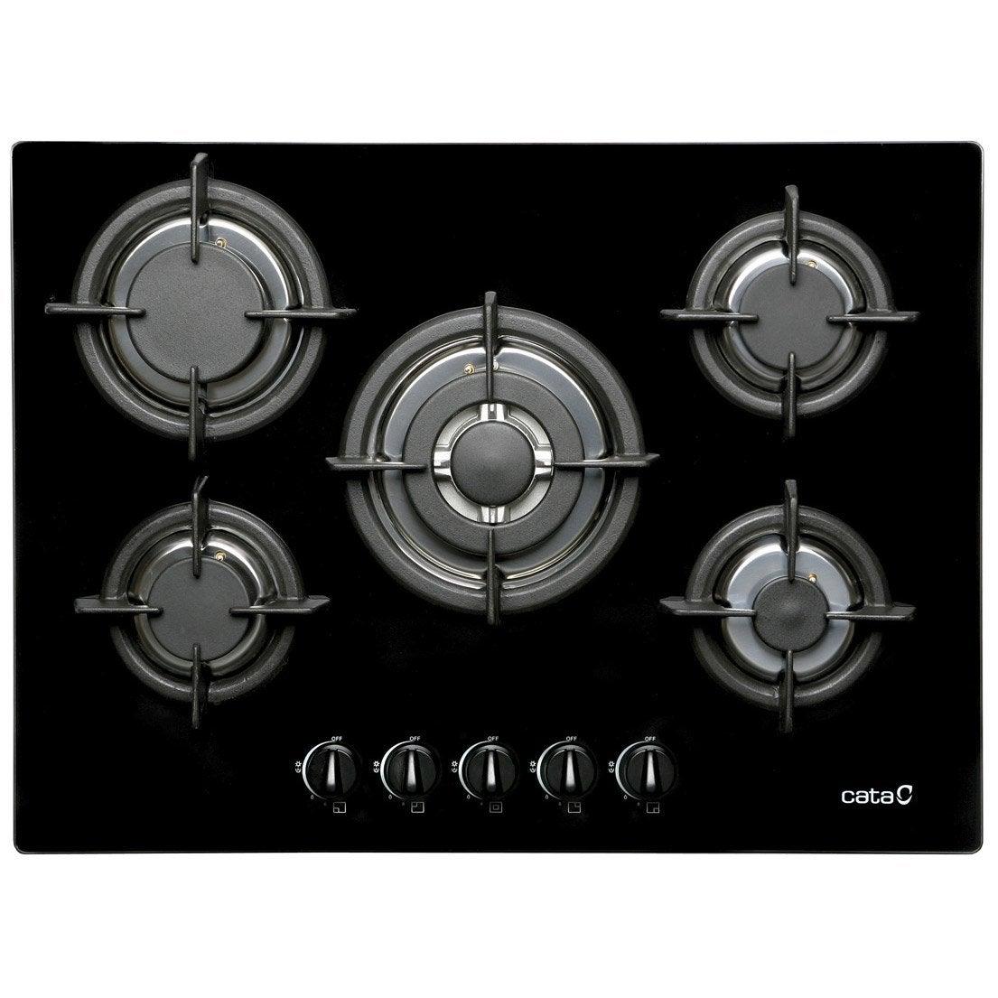 plaque de cuisson gaz 5 foyers, noir, cata apelson l705ci | leroy merlin