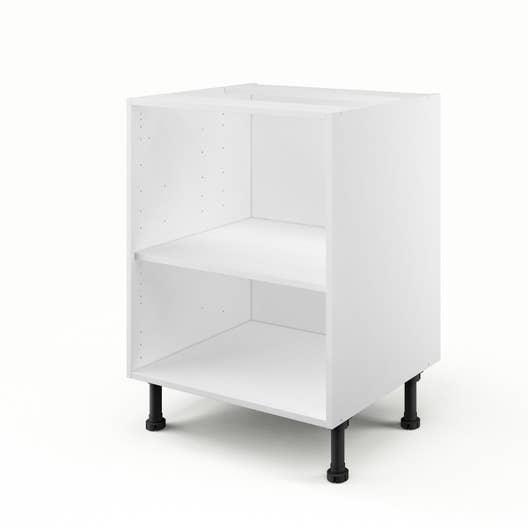 caisson de cuisine bas b60 delinia blanc l60 x h85 x p56 cm