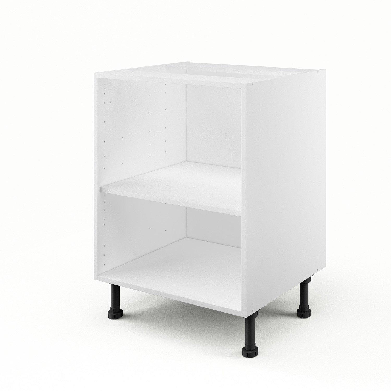 caisson de cuisine bas b60 delinia blanc l60 x h85 x p56 cm leroy merlin - Dimension Meuble Pour Four Encastrable