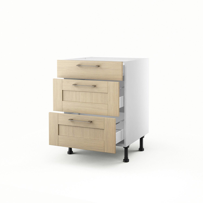 meuble de cuisine bas chne clair 3 tiroirs cyclone h70 x l60 x p56 cm