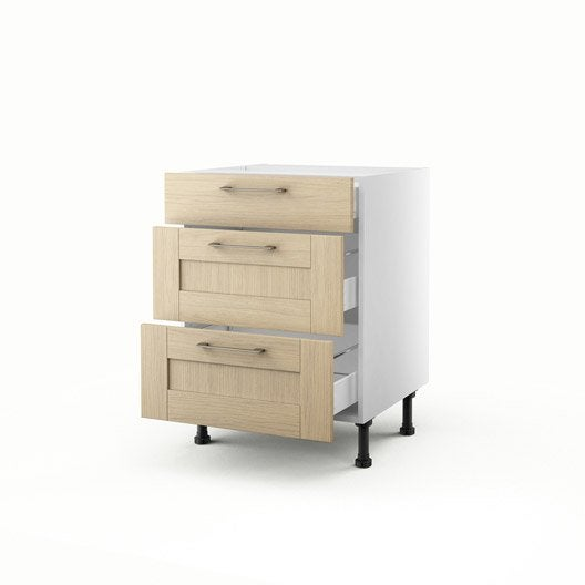 meuble de cuisine bas ch ne clair 3 tiroirs cyclone x. Black Bedroom Furniture Sets. Home Design Ideas