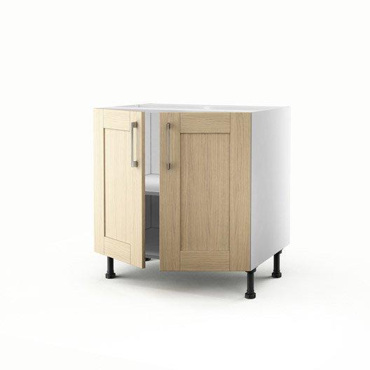 Meuble de cuisine bas ch ne clair 2 portes cyclone x for Meuble 70x70