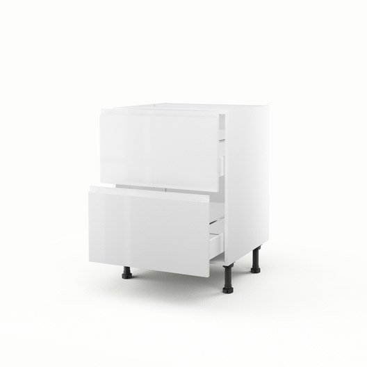 Meuble de cuisine bas blanc 2 tiroirs graphic x for Meuble cuisine profondeur 70 cm