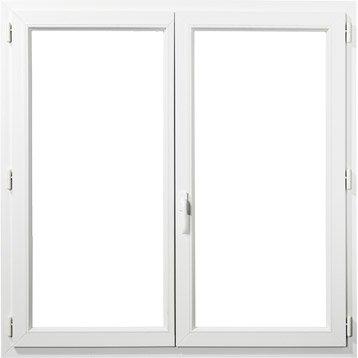Fenêtre PVC PRIMO, 2 vantaux tirant droit, H165xl120 cm