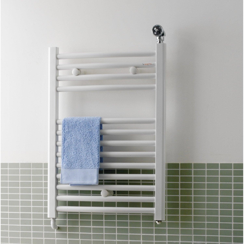 Sèche serviettes eau chaude acier deltacalor recto c blanc 598 w leroy merlin