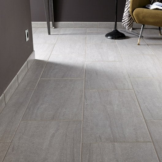 Carrelage sol et mur gris effet pierre trevise x for Carrelage sol interieur gris