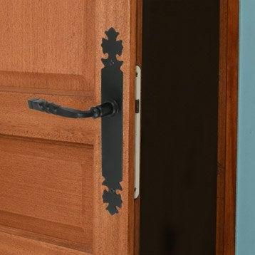 2 poignées de porte Bourgogne sans trou, fer, 195 mm