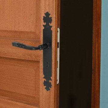 2 poignées de porte Bourgogne trou de clé, fer, 195 mm