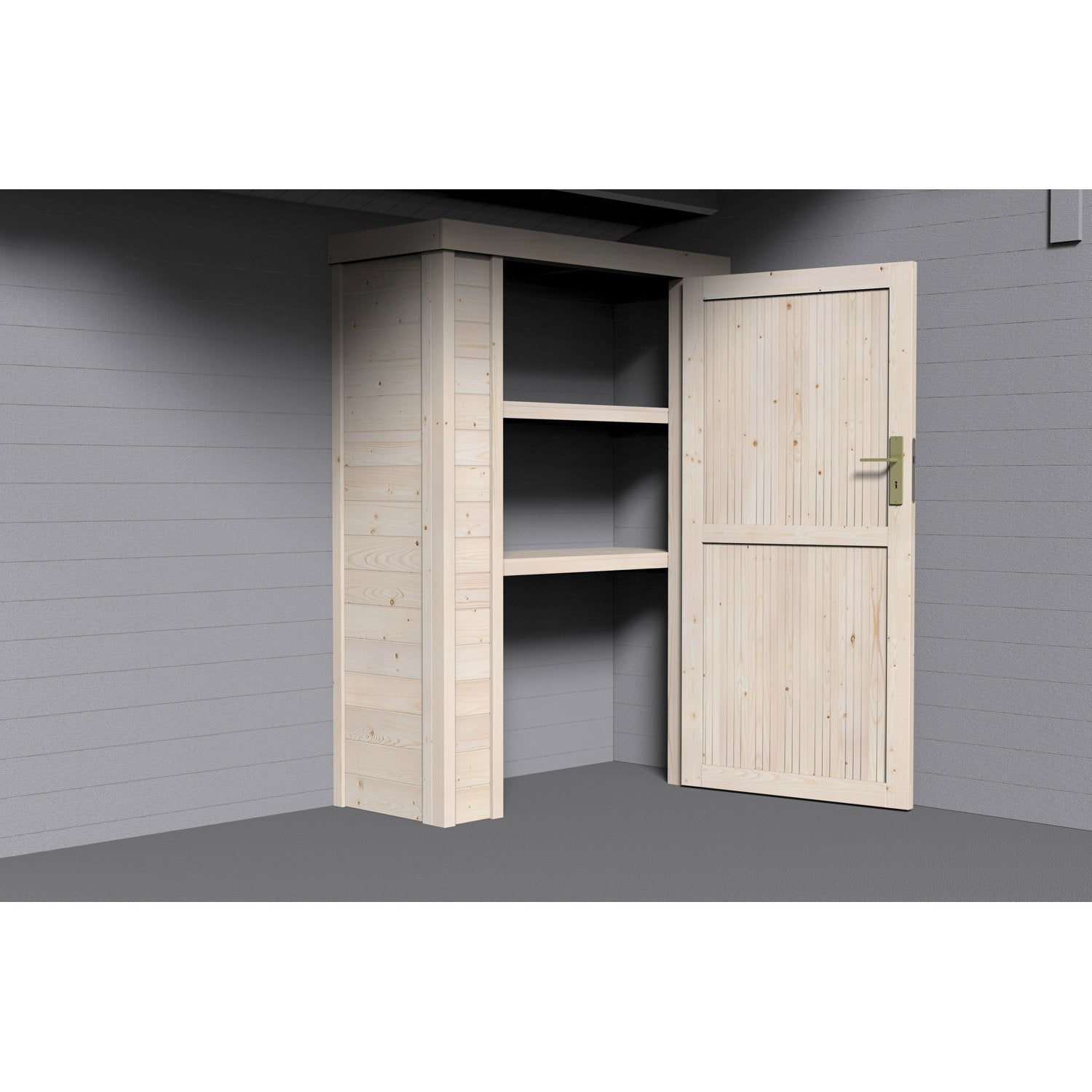 armoire en bois pour abri x x cm leroy merlin. Black Bedroom Furniture Sets. Home Design Ideas